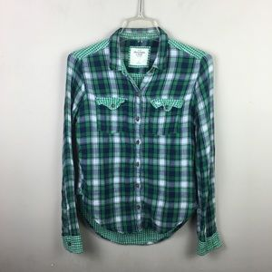 Green Plaid flannel and gingham button down top